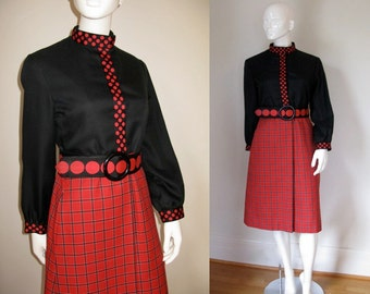 Vintage Bill Blass for Bond Street 1960s 1970s Black and Red Mod Style Coat Jacket Plaid and Polka Dots