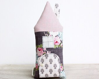 Tooth Fairy Pillow- House Cottage Stuffed Toy, Floral, Pink, Girls, Children, Gift For Kids, Keepsake, Special Occasion