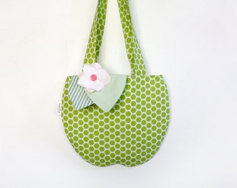 Kid's Green Apple Purse, Back To School, Children's Accessories,  Girl's, Apple, Tote Bag, Kids, Polk Dots, Girl's Purse