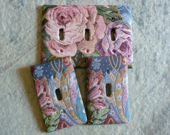 THREE Light Switch Plate Covers Cabbage Roses