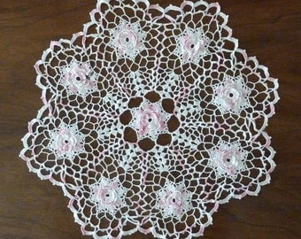 Large Pale Pink and White Rosette Doily