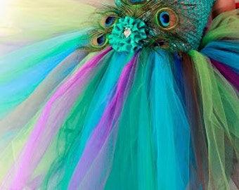 Peacock Dress, Tutu Dress, Toddler Girls, Fancy Headband, Feather Clip, Stunning Colors