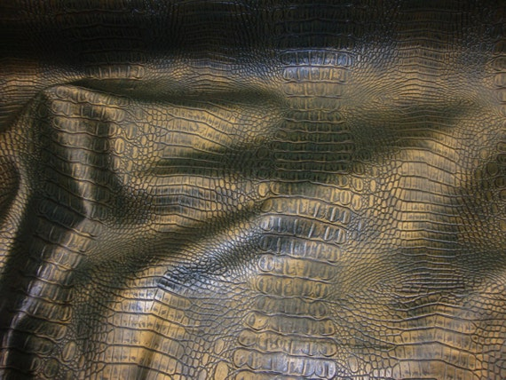 vinyl faux leather green gold allie embossed alligator upholstery faux vinyl fabric per yard. Black Bedroom Furniture Sets. Home Design Ideas