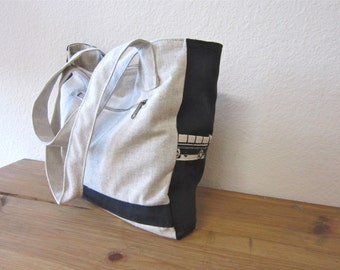 Last one -Black canvas tote bag/Shoulder bag/Fashion Accessories/Trending items