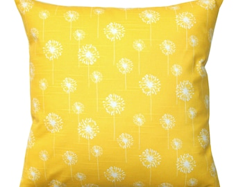 CLEARANCE Throw Pillow Covers, Small Dandelion Yellow Pillow, 14x14 Zippered Pillow, Floral Pillow, Decorative Pillows, Cyber Monday Sale