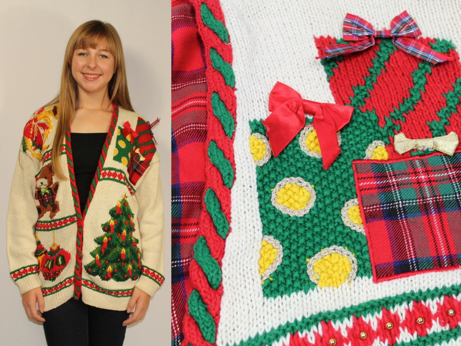 Tacky CHRISTMAS Tree SWEATER Cardigan Button Up Women's
