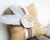 Boho Ring Bearer Pillow, Lace Burlap Pillow, Rustic wedding decor Shabby Chic Country Ring Pillow / Ready to Ship