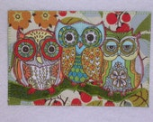Owls Birthday Card MADE TO ORDER Gift Friend Him HerFamily Housewarming Thank You Frame Hi House Cabin 4x6 fabric quilted appliqued postcard