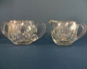 ABP American Brilliant Cream and Sugar Set Frosted Etched Flower Cut Glass Creamer Glass Sugar Bowl