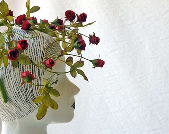 Roses crown, nature goddess wedding red roses headdress