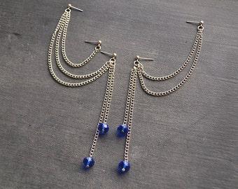 Midnight Blue Beads Multiple Pierce Cartilage Earrings (Pair)