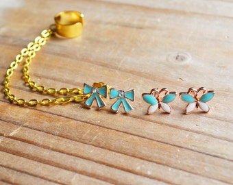 Blue Bow and Butterfly Gold Ear Cuff Set
