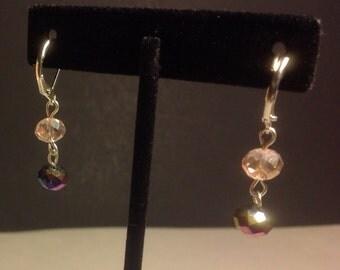 Pink and Purple Swarovski Dangle earrings