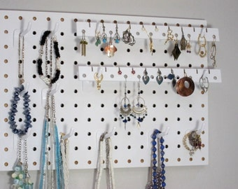Necklace Hanger - Bracelet Holder - Earring Holder - Jewelry Organizer - Small Version, White