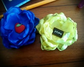 Unique set of 2 Back to School flower hair clips/yellow and blue flower hair clips/school flower hair clips