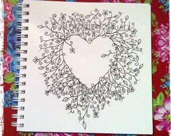 Botanical Heart Notebook, Sketchbook