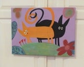 Original Painting Whimsical kitties on 14 x 18  stretched canvas