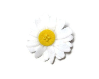 Small White Yellow Daisy Dog Collar Flower Removable