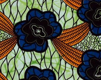Head wrap:  Ankara African wax print African head wrap Blue, green and Orange African flowers