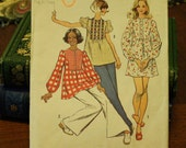 Simplicity 5629 Pattern 1970s 70s Blouse Vintage  Sewing Pattern Size 15/16 Bust 35