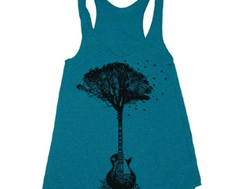Women's Racerback Tank - Guitar Tree - Womens Athletic Workout Tank - Running Tank Print Art Running tanktop Gym Tank for Women