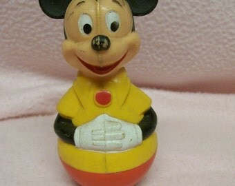Mickey Mouse Roly Poly Baby Toddler Toy Hard Plastic Vintage
