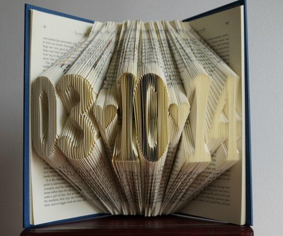 Book Art Wedding Gift : gift-wedding gift-Digit Folded Book Art -6 numbers-statement gift ...