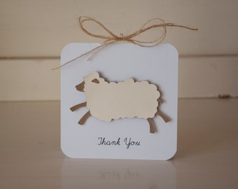 Lamb Thank You Cards Notes Baby Shower First Birthday Party Sheep Invitations Invites