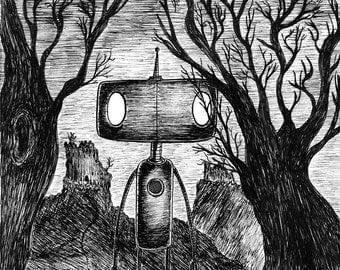 Friends Reunited- A4 robot art print by Jon Turner- macabre geeky artwork- FREE WORLDWIDE SHIPPING