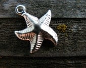 2 Sterling Silver Starfish Charm 14mm