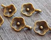 Tiny Bronze Flower Charms, Antiqued Bronze, 13mm, 25pcs