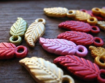 20 Acrylic Leaf Charms 18mm Mixed Colors
