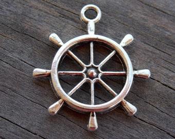 6  Steering Wheel Charms 28mm Silver Ship Steering Wheel Nautical