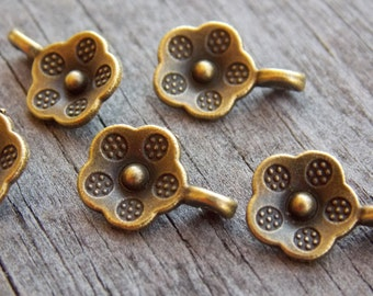 50 Tiny Bronze Flower Charms 13mm