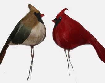 6 pc 5 Inch Male and Female Cardinal Pair, Craft Birds for Christmas Decorating, Wreaths, Floral Arrangements, Photography