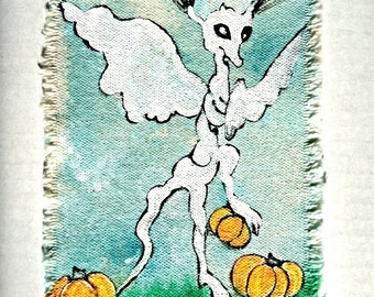 Halloween Canvas art patch wearable mini painting