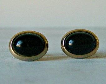 Vintage Oval Cuff Links, Swank Gold Tone , Black Stone Cuff Links, Fathers Day Gift, Collectible Accessories,  Men's Jewelry
