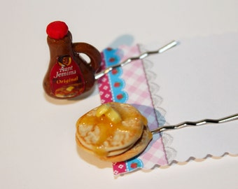 Breakfast Hair pins -Miniature Food Hair Pins - Pancake Bobby Pins - Kawaii Jewelry