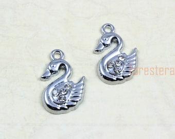 10Pcs Antique Silver swan Charm swan Pendant 15x12mm  (PND863)