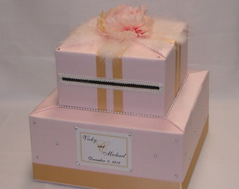 Blush Pink and Gold  Wedding Card Box-Flower/Feather accents-any colors