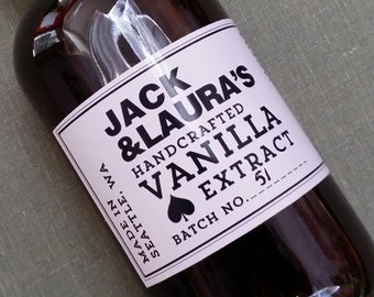 Personalized Vanilla Extract Label or Tag, Set of 18
