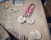 Stamped off round disc pendant/charm,  with letter of choice,silver, very sturdy, recycled silver