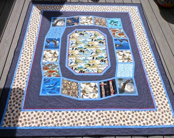 Quilt Alaskan Wildlife Featuring Whales, Bears, Eagles, Salmon, Totem Poles