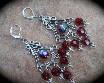 Deep Garnet Red Chandelier Earrings  Faceted Czech Glass Earrings Aurora Borealis Finish Holidays Christmas