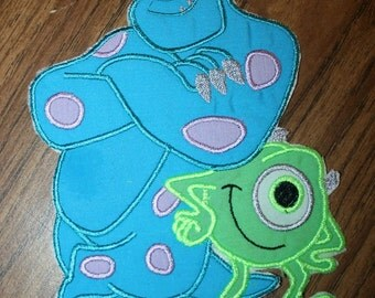 blue and green monsters  Iron on patch