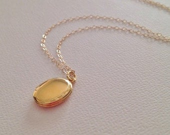 Gold Locket Necklace-Gold Oval Locket -Gold Fill Not Plated