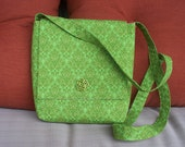 Green Purse Bag with Flap and Long Strap
