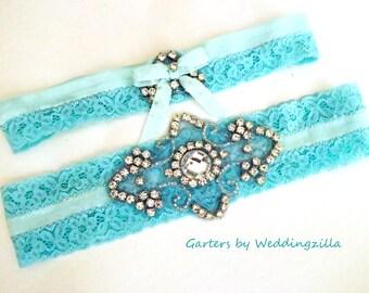 Aqua Blue Lace Wedding Garter / CRYSTAL RHINESTONE GARTER