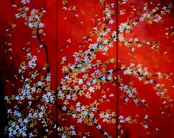 Blossoms on Crimson, an original oil triptych by Jo Edwards