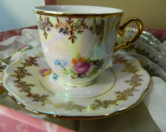 Vintage Tea Cups Set Czecho Crown Luster Ware Teacup Set NOS Home Decor, Gift On Sale